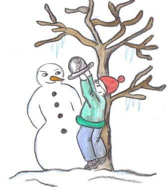 Schneemann und Kind
