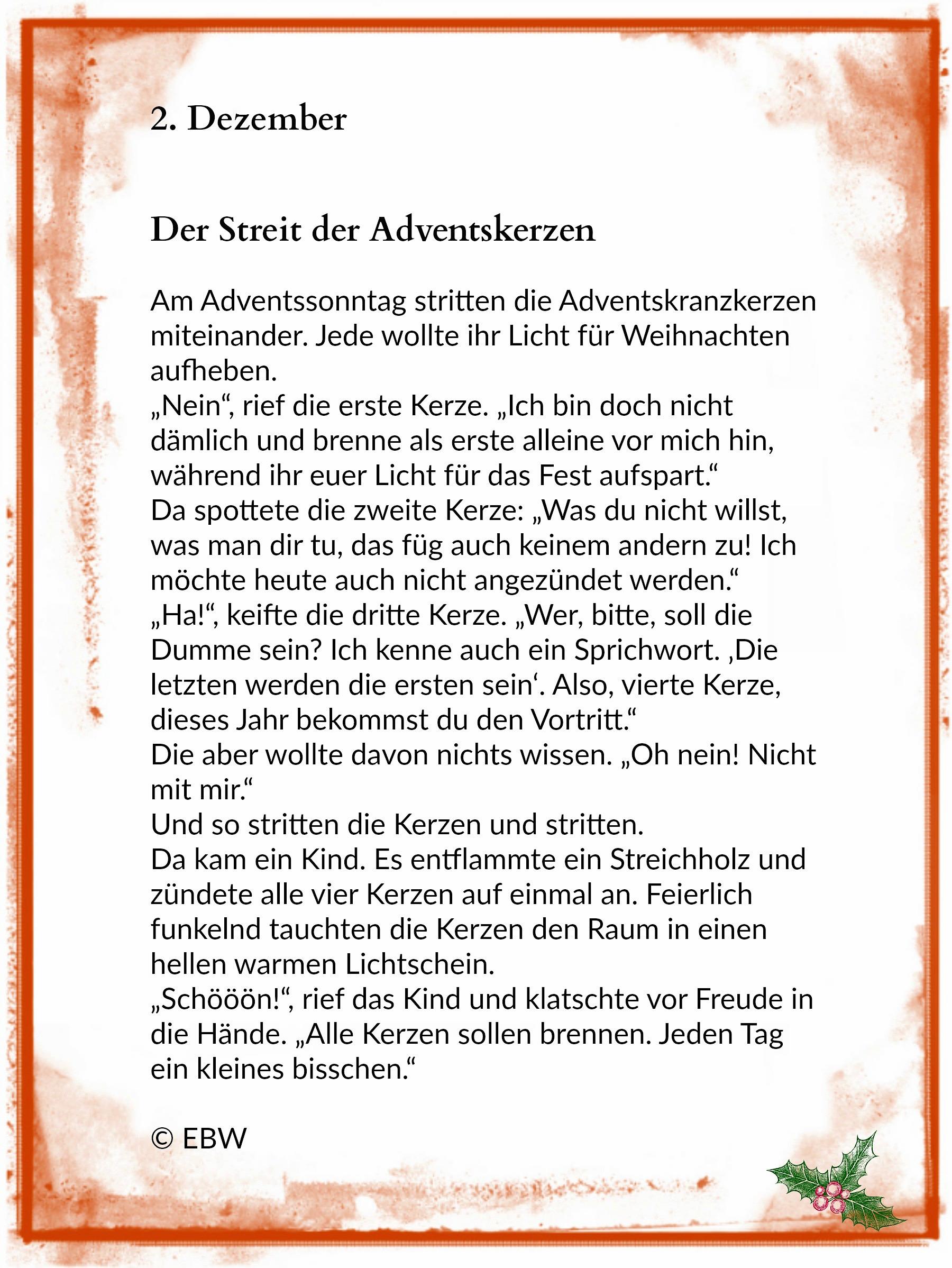 Die adventskerzen 2 dezember winterzeit - Adventskranz englisch ...